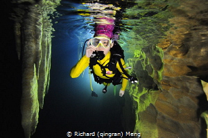 Cave diving challenge by a female diver in Guangxi, China by Richard (qingran) Meng